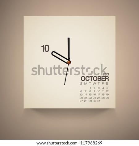 2013 Calendar October Clock Design Vector - stock vector