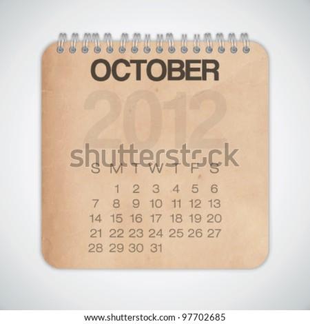 2012 Calendar October Old Texture Paper Vector - stock vector