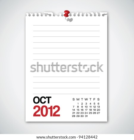 2012 Calendar October Torn Edges Paper Vector - stock vector