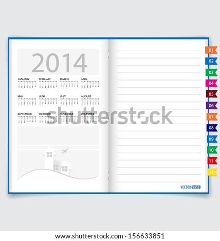 2014 calendar on notebook paper, June. Vector illustration. - stock vector