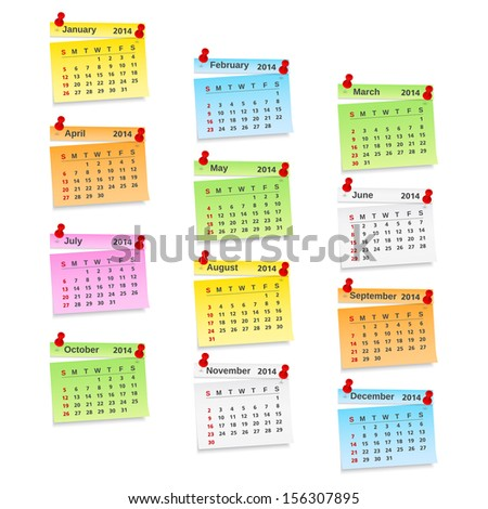 2014 Calendar on paper notes, vector eps10 illustration - stock vector