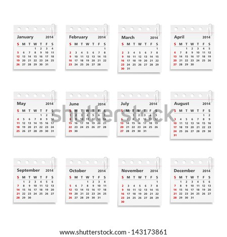 2014 Calendar on paper sheets with clips, vector eps10 illustration - stock vector