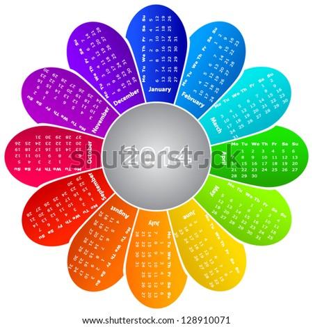 2014 calendar on rainbow flower background - stock vector