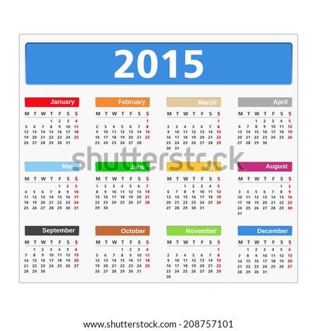 2015 Calendar on white background, vector ps10 illustration - stock vector