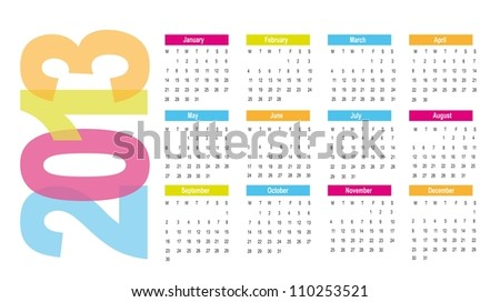 2013 calendar over white background. vector illustration - stock vector