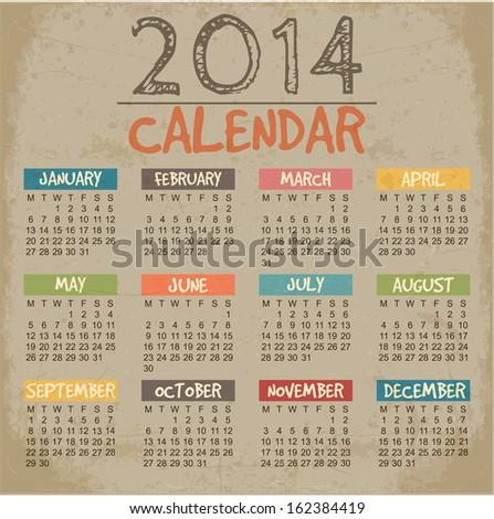 2014 Calendar paper design. Vector - stock vector