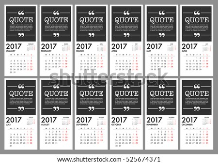 2017 Calendar Planner Design. For Organization And Business. Week Starts  Monday. Simple Vector