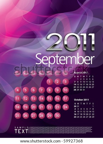 2011 Calendar September - stock vector
