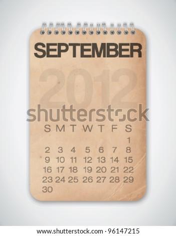 2012 Calendar September Grunge Texture Notebook Vector - stock vector