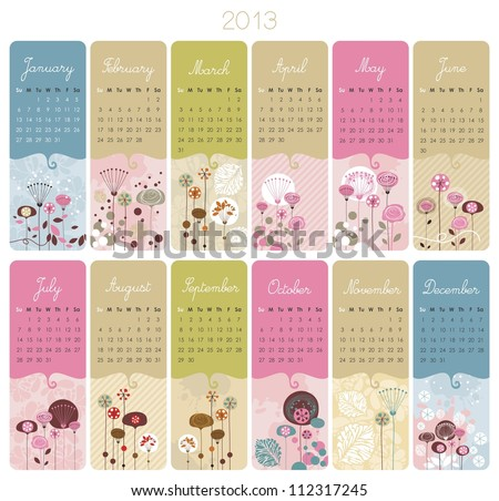 2013 Calendar set with vertical banners or cards - stock vector