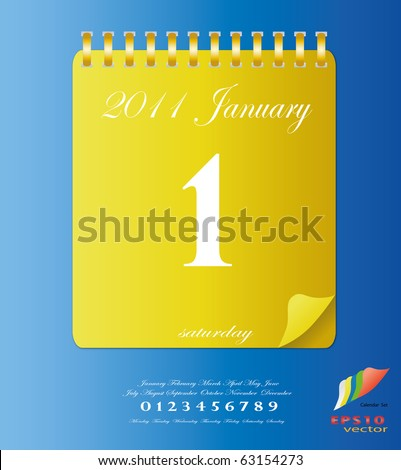 2011 calendar stand up in yellow with template of month ,date and day - stock vector