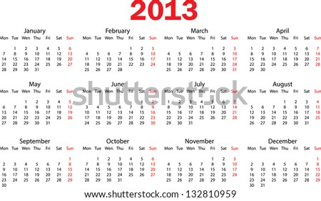 2013 calendar (starts from Mondays) - stock vector