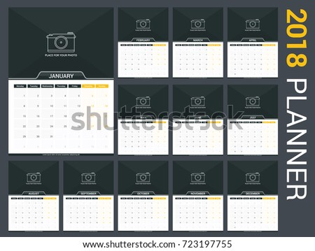 2018 calendar template planner 12 pages stock vector 723197755 2018 calendar template planner 12 pages vector eps10 illustration pronofoot35fo Images
