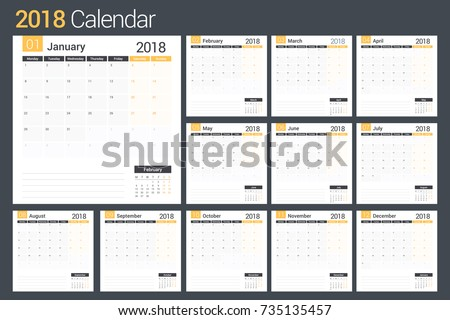 2018 calendar template planner 12 pages stock vector 735135457