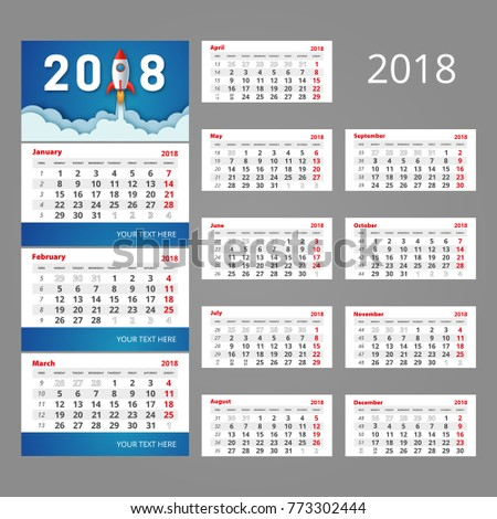 2018 Calendar Template Three Month Grid Stock Photo Photo Vector