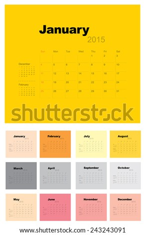 2015 Calendar template, vector graphic artwork  - stock vector