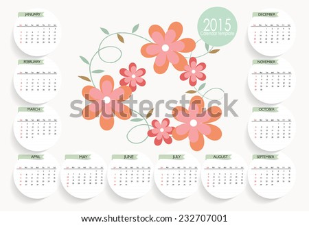 2015 Calendar template. Vector illustration. - stock vector
