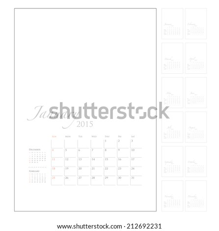 2015 Calendar template with picture space, vector graphic artwork