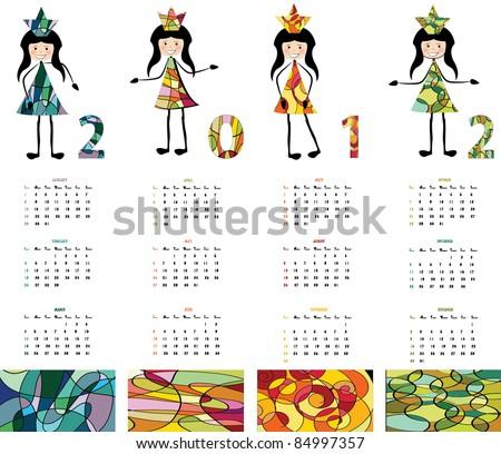 2012 calendar- vector - stock vector