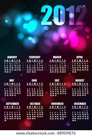 2012 calendar, vector - stock vector