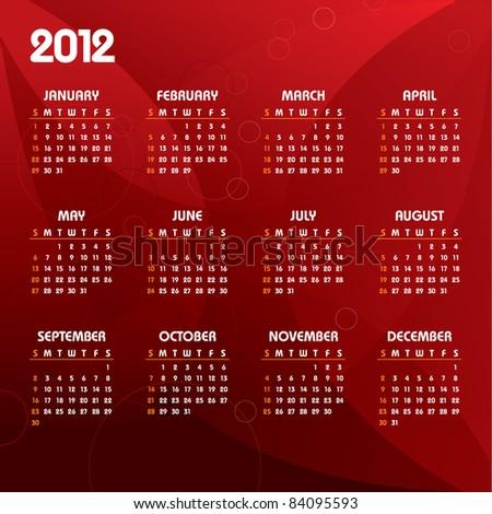 2012 Calendar. Vector Background. - stock vector