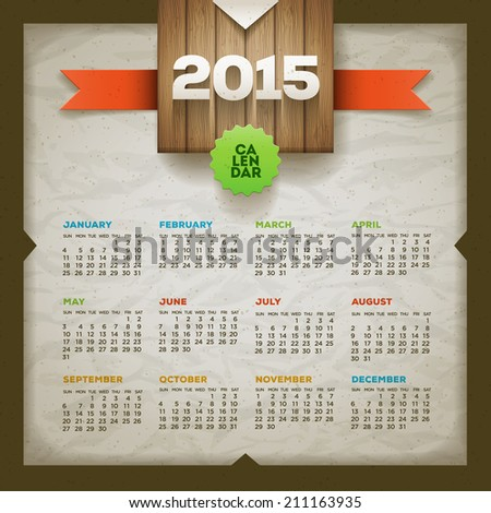 2015 calendar. Vector design template. Elements are layered separately. - stock vector