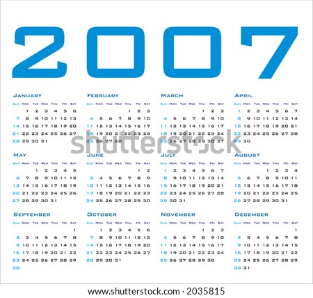 2007 Calendar (Vector Format, can be scaled to any size) - stock vector