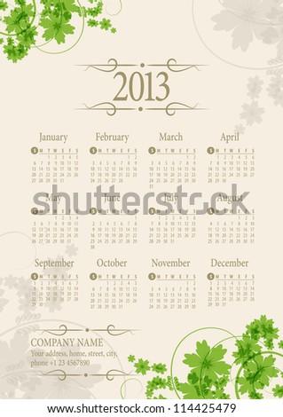 2013 Calendar. Vector Illustration - stock vector
