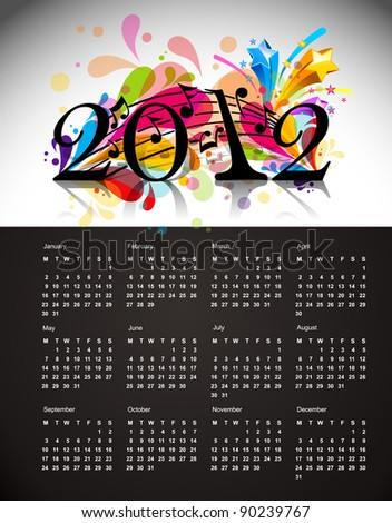 2012 Calendar. Vector Illustration - stock vector