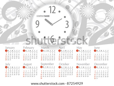 2012 Calendar. Vector illustration with floral elements - stock vector