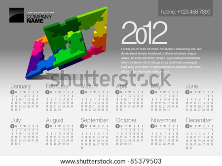 2012 Calendar. Vector Illustration with Puzzle vector element