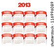 2013 Calendar. Vector Illustration with red Ribbon - stock vector