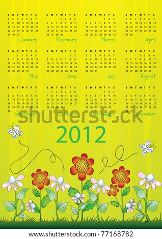 2012 calendar - week starts on Sunday - stock vector
