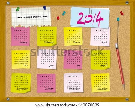 2014 calendar - week starts on Sunday - cork board with notes and pushpins  - stock vector
