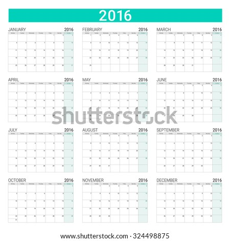 2016 calendar, weeks start from Monday - stock vector