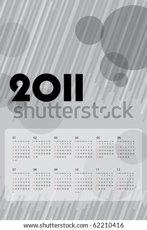 2011 calendar with abstract background - stock vector