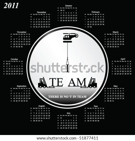 2011 calendar with an office teamwork theme - stock vector