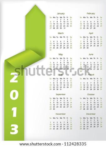 2013 calendar with arrow shaped green ribbon - stock vector