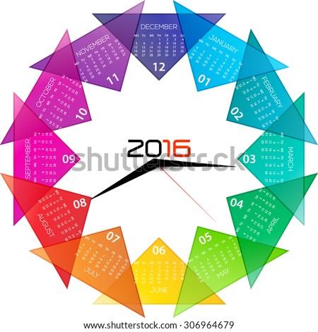 2016 calendar with clock illustration, inspirational design. - stock vector