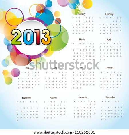 2013 calendar with colorful circles, background. vector illustration - stock vector