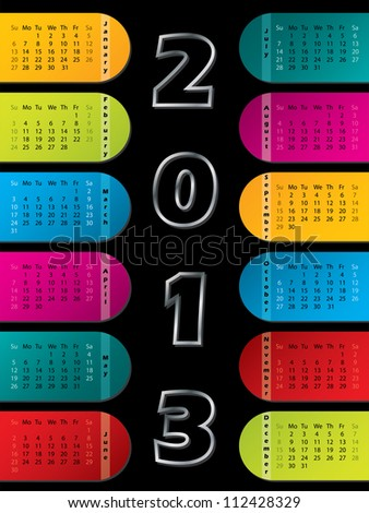 2013 calendar with colorful labels on dark background - stock vector