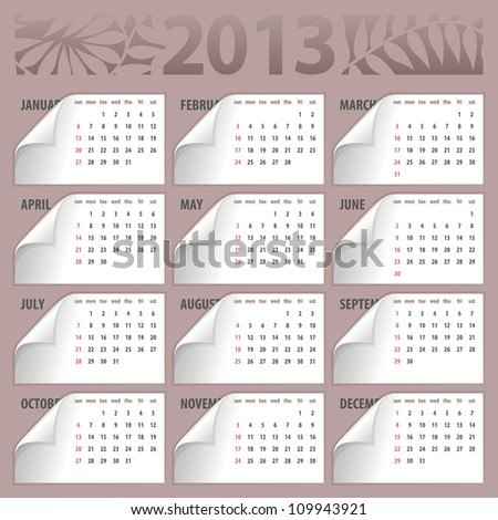 2013 calendar with curly corners - week starts with sunday - stock vector
