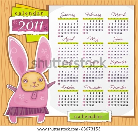 2011 calendar with cute rabbit. Symbol of 2011 year - stock vector