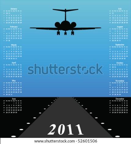 2011 calendar with jet plane landing on runway - stock vector