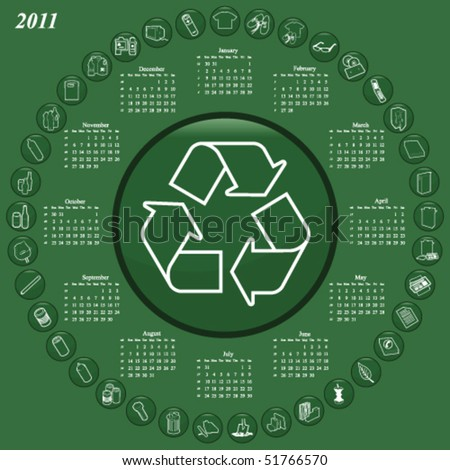 2011 calendar with recyclable materials theme - stock vector