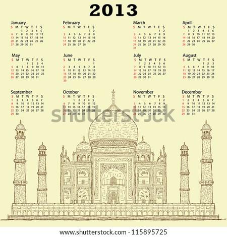 2013 calendar with vintage hand drawn illustration of famous tourist destination taj mahal of India. - stock vector