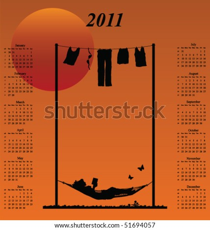 2011 calendar with woman reading in a hammock - stock vector