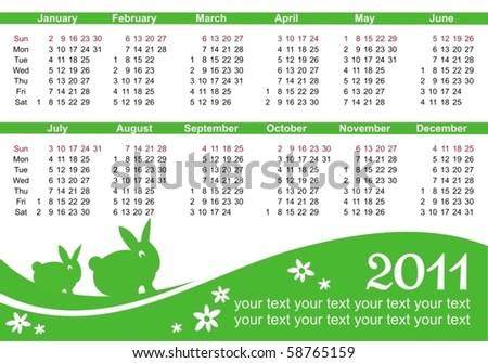 2011 calendars (starts Sunday) - stock vector