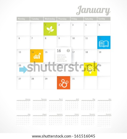 2014 calender minimalist design vector template. - stock vector