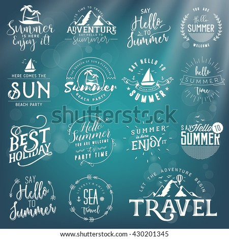 Calligraphic Travel, Sea, Summer, Beach and Mountains Designs on Blue Underwater Background - stock vector